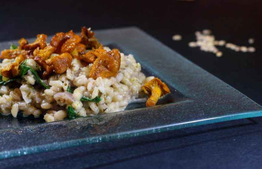 Barley, chanterelle and spinach risotto