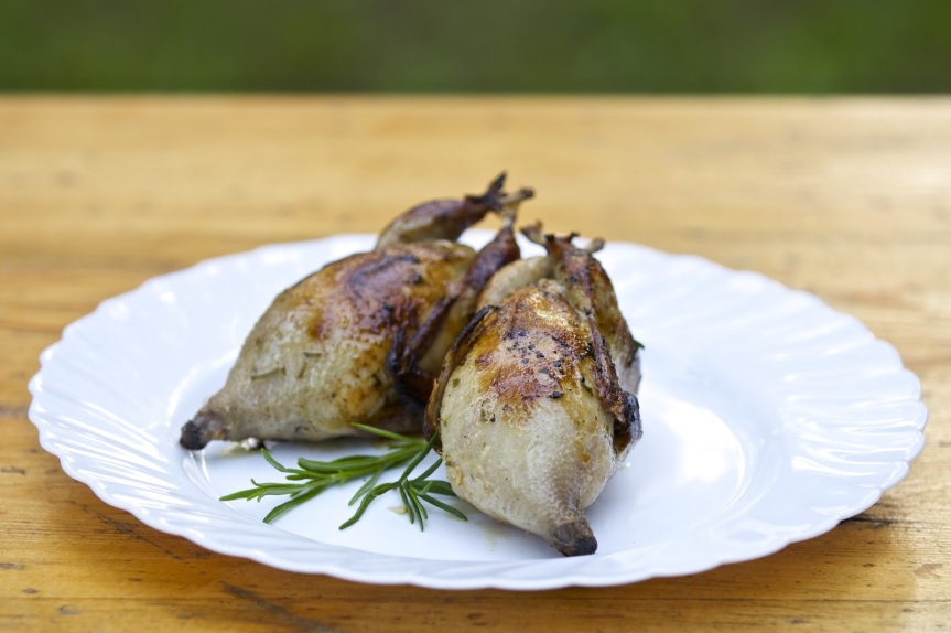 Quail with oven roasted root vegetables