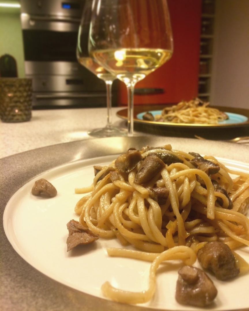 Egg noodles with forest mushrooms and soy
