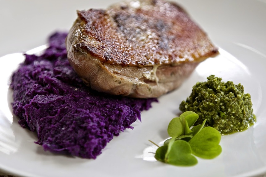 Juicy and moist slow cooked duck breast with red cabbage puree