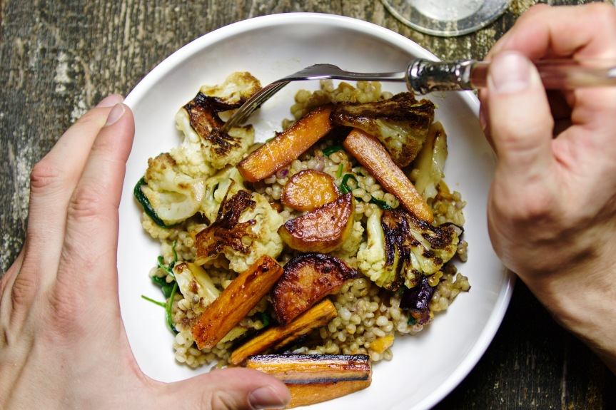 Pearl barley with caramelized vegetables
