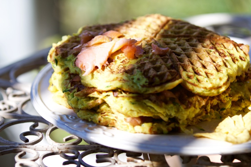 Zucchini waffles with lightly smoked salmon