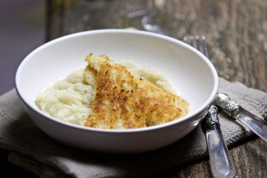 Catfish filet in panko flakes with celery puree