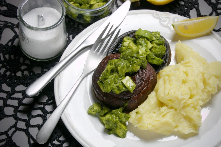 Portobello steaks with avocado chimichurri and garlicky potato puree